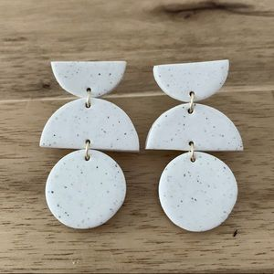 Jewelry - White Speckled Polymer Clay Earrings